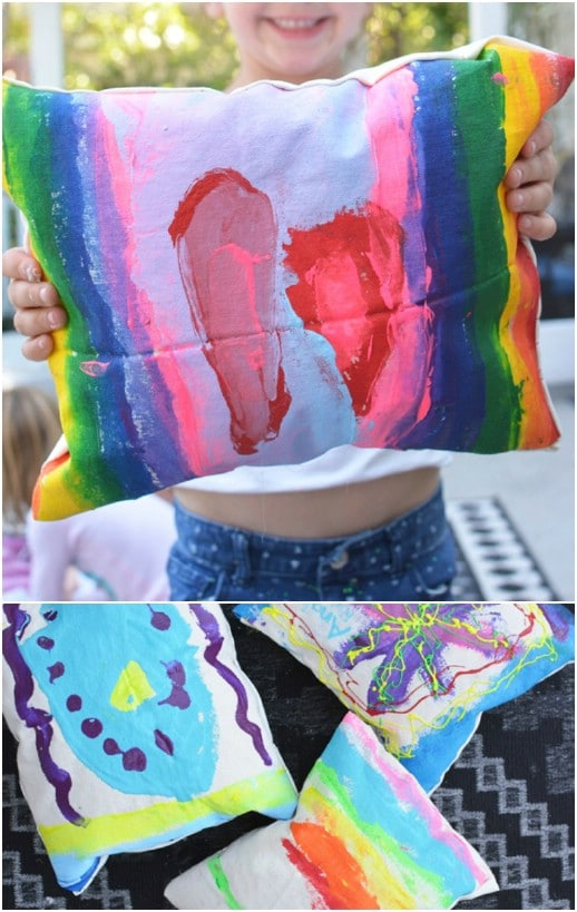 DIY Canvas Hand Painted Pillows