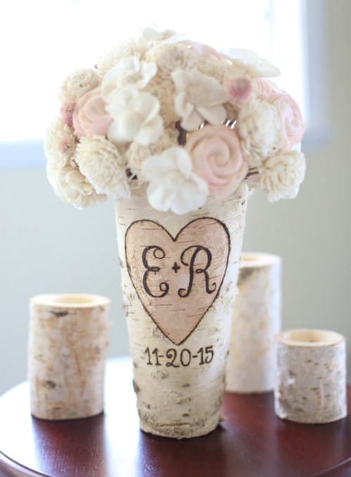 Personalized Birch Wood Vase
