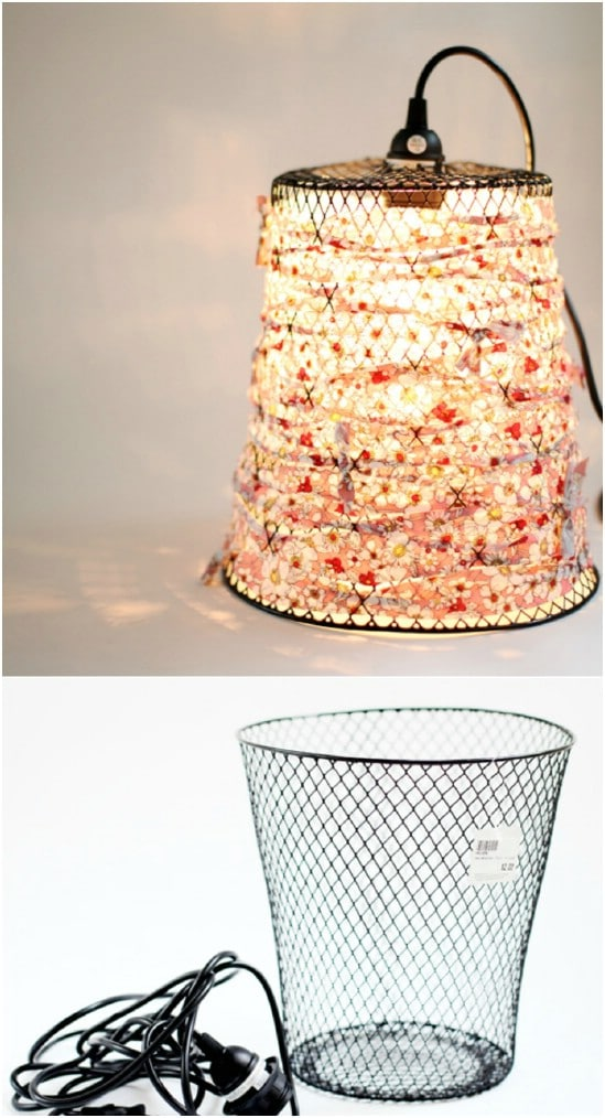 Repurposed Wire Basket Light