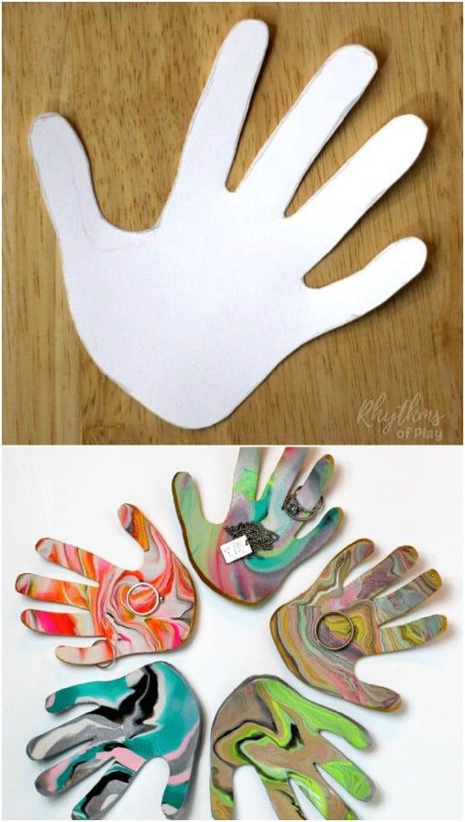 DIY Marbled Clay Handprint Jewelry Dish