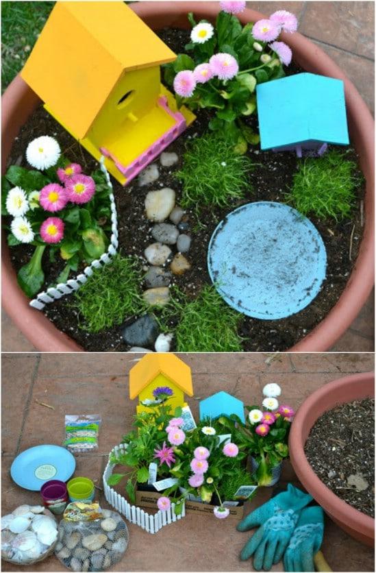 Cute Birdhouse Themed Fairy Garden