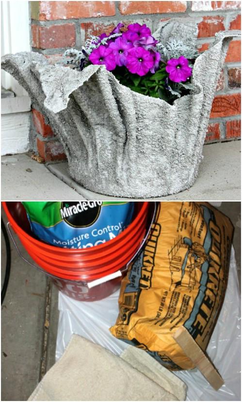 Unique DIY Towel Shaped Cement Garden Planter