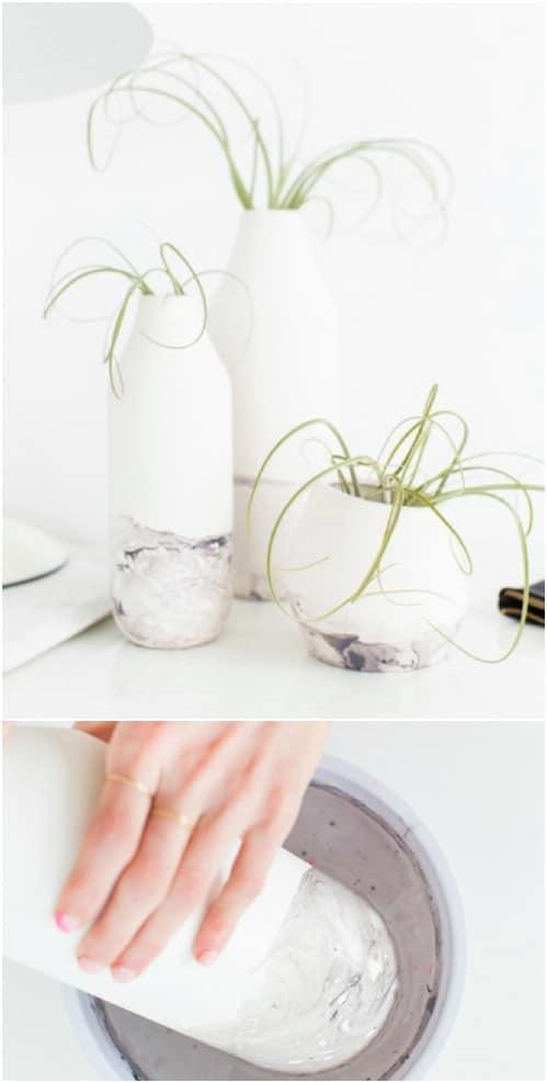 DIY Swirled Marble Vases