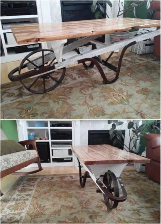 DIY Repurposed Wheelbarrow Coffee Table