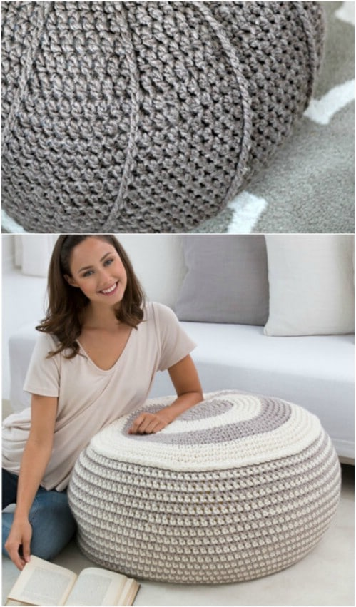 DIY Crocheted Porch Poof