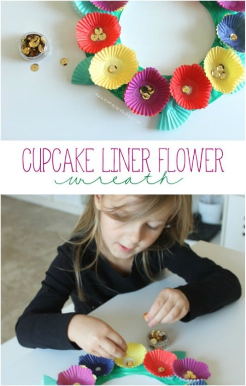 DIY Cupcake Liner Tropical Wreath