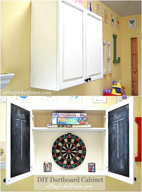 DIY Repurposed Cabinet Dartboard