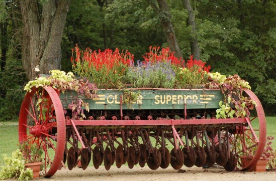 Upcycled Farm Equipment Garden Décor