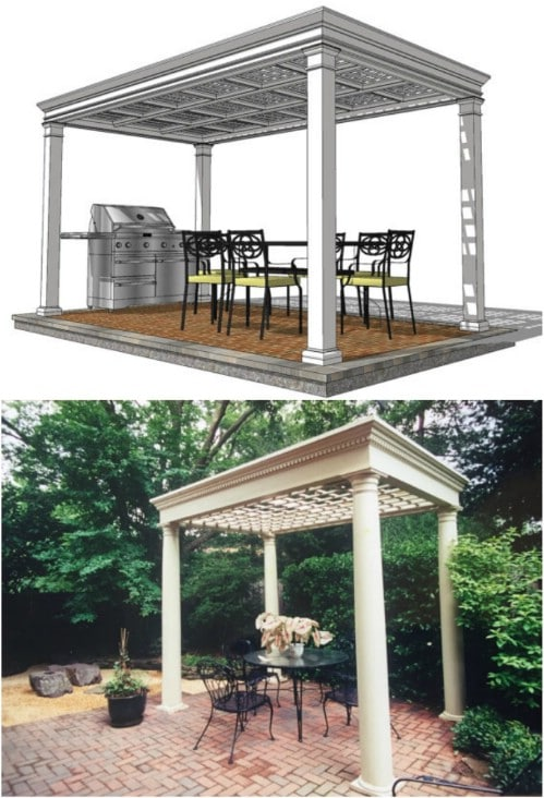 Garden Pergola with Coffered Trellis Ceiling (Plans Only)