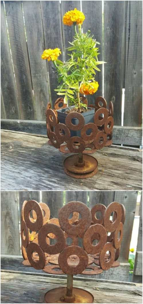 Rusty Washer Flower Pot