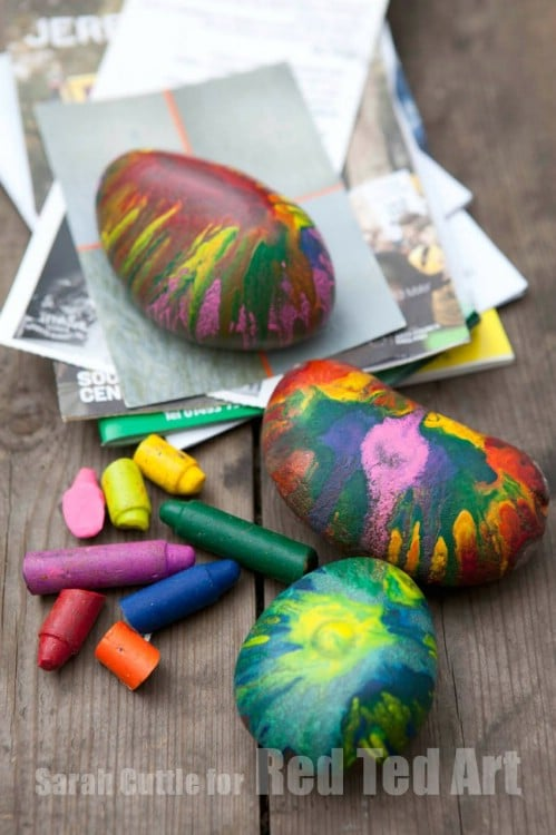 Fun Melted Crayon Rocks