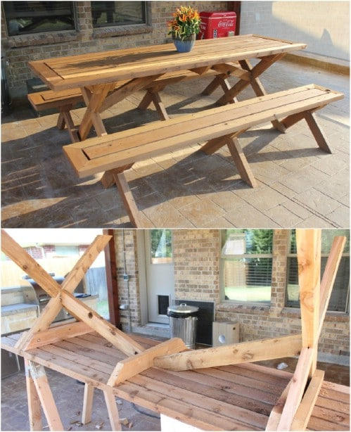 Superb 18 Rustic Diy Picnic Tables For An Entertaining Summer Free Customarchery Wood Chair Design Ideas Customarcherynet