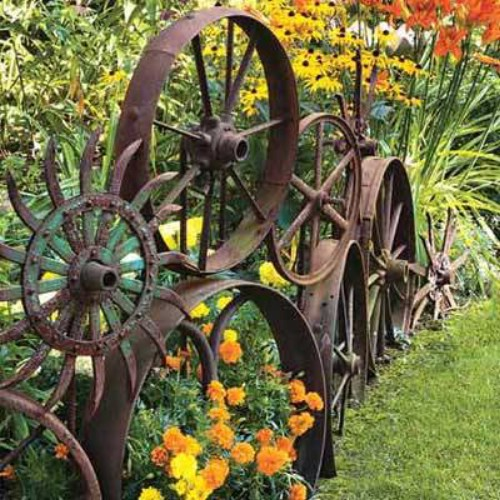 Old Rusted Wheel Garden Fence