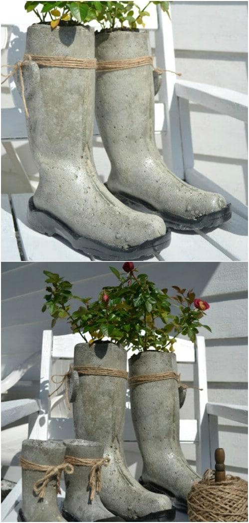 DIY Concrete Rubber Boot Planters