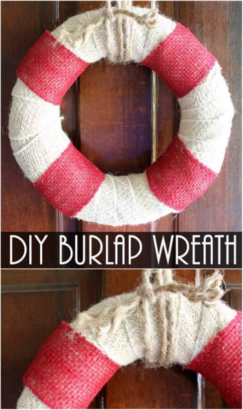DIY Coastal Themed Burlap Wreath