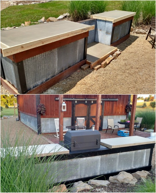 Beau DIY Concrete And Corrugated Steel Outdoor Kitchen