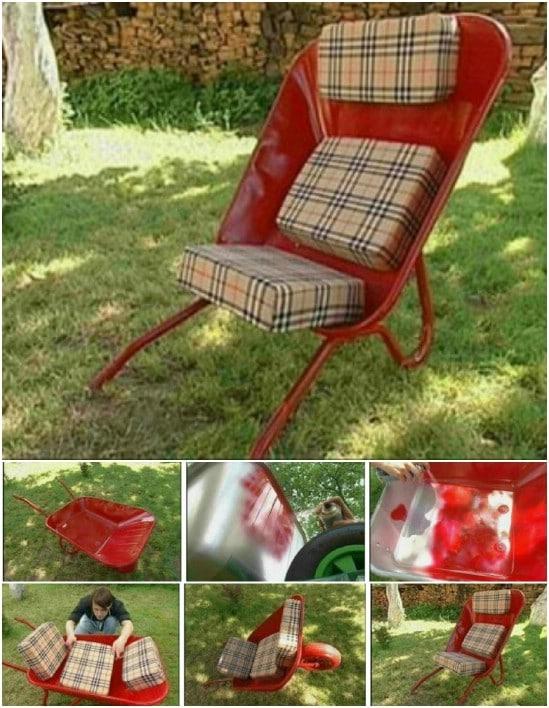 DIY Cushioned Wheelbarrow Chair