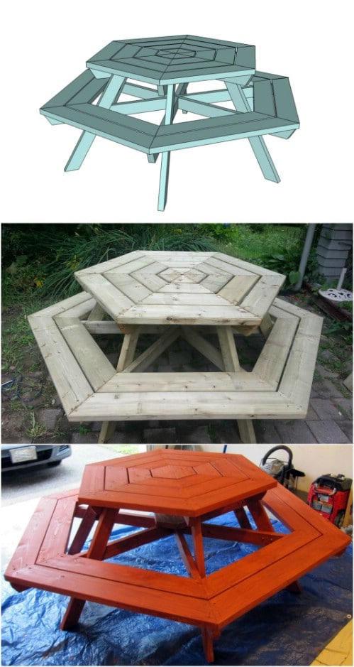 Gorgeous DIY Hexagon Picnic Table
