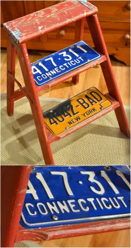 Upcycled License Plate Step Ladder