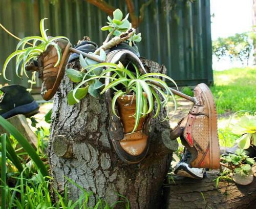 Repurposed Shoe Herb Garden