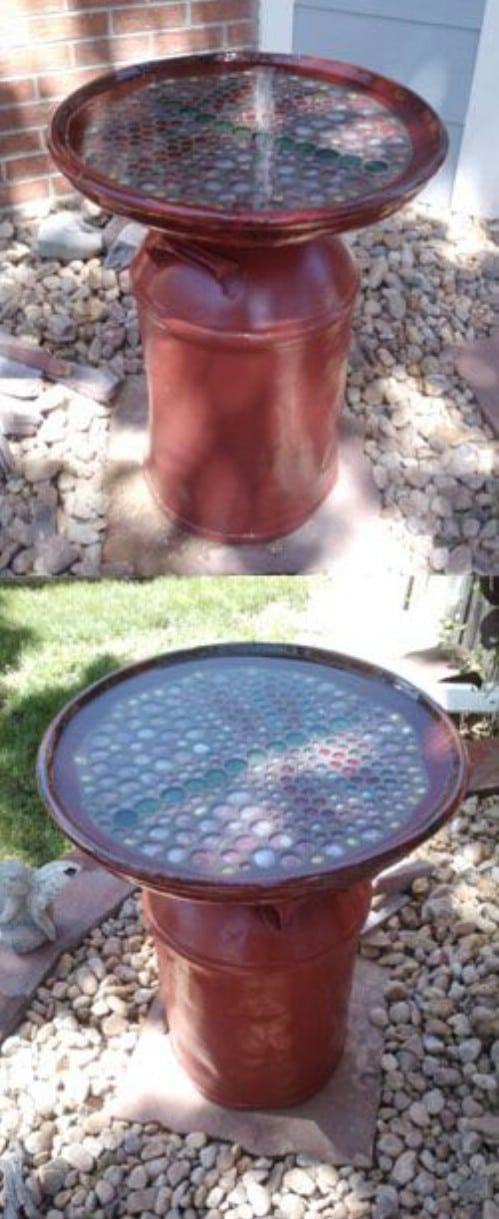 Old Fashioned DIY Milk Can Birdbath