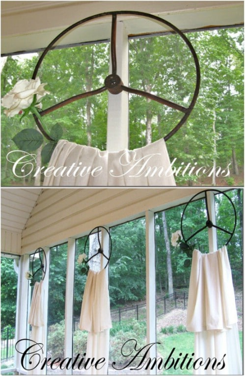 Repurposed Steering Wheel Curtain Holders