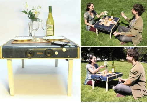 Repurposed Suitcase Picnic Table For Two