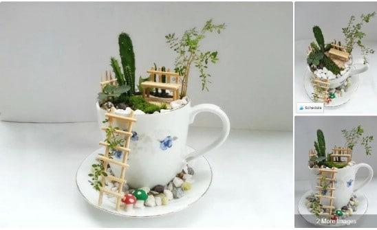 Repurposed Teacup Fairy Garden