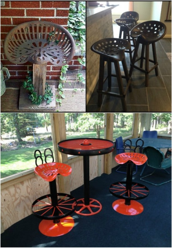 Upcycled Tractor Seat Bar Stools