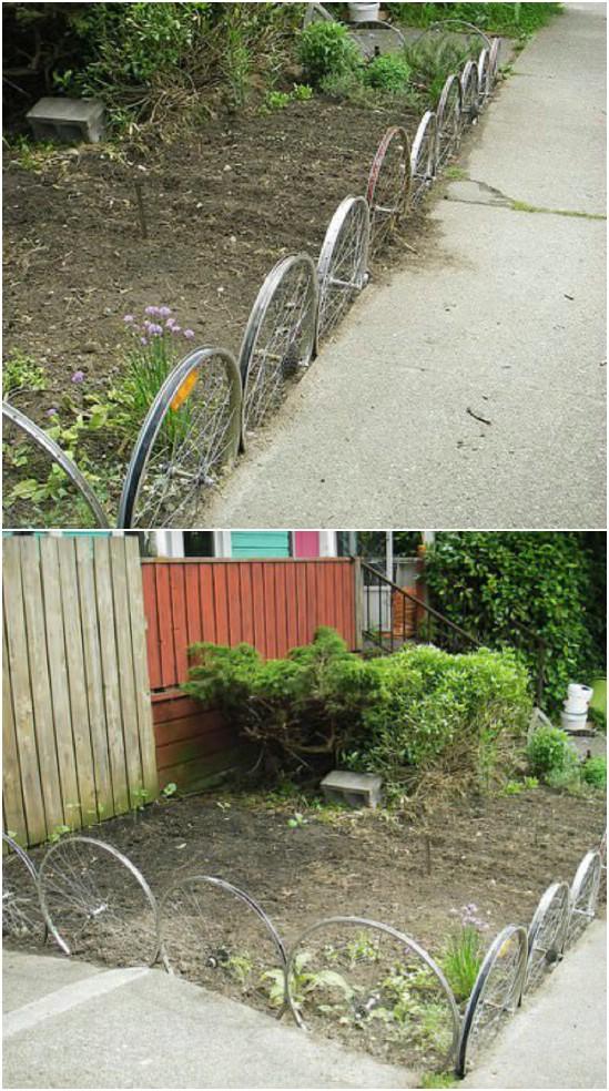 Repurposed Bike Wheel Garden Fence