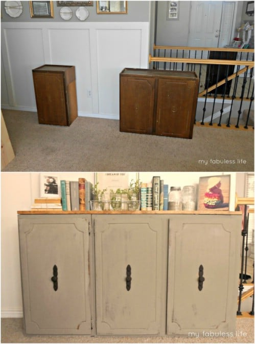 Repurposed Kitchen Cabinet Console Table