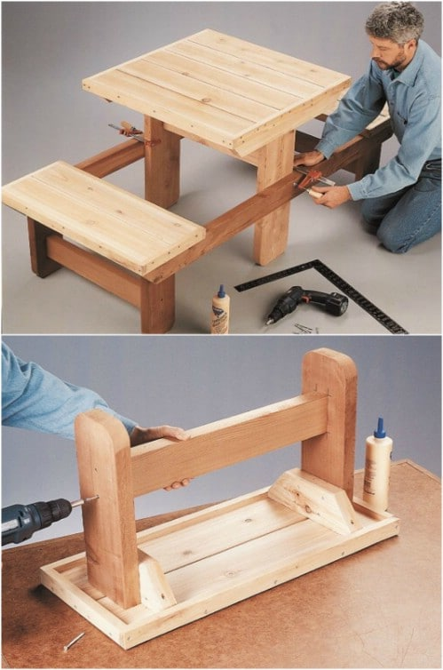 Small Wooden Picnic Table For Two