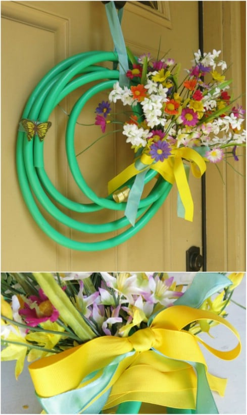 DIY Flowery Summer Garden Hose Wreath