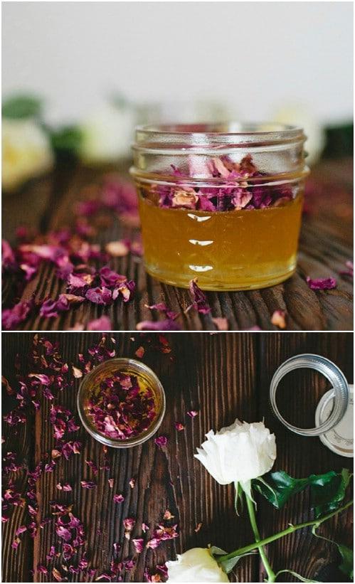 Homemade Rose Petal Infused Honey