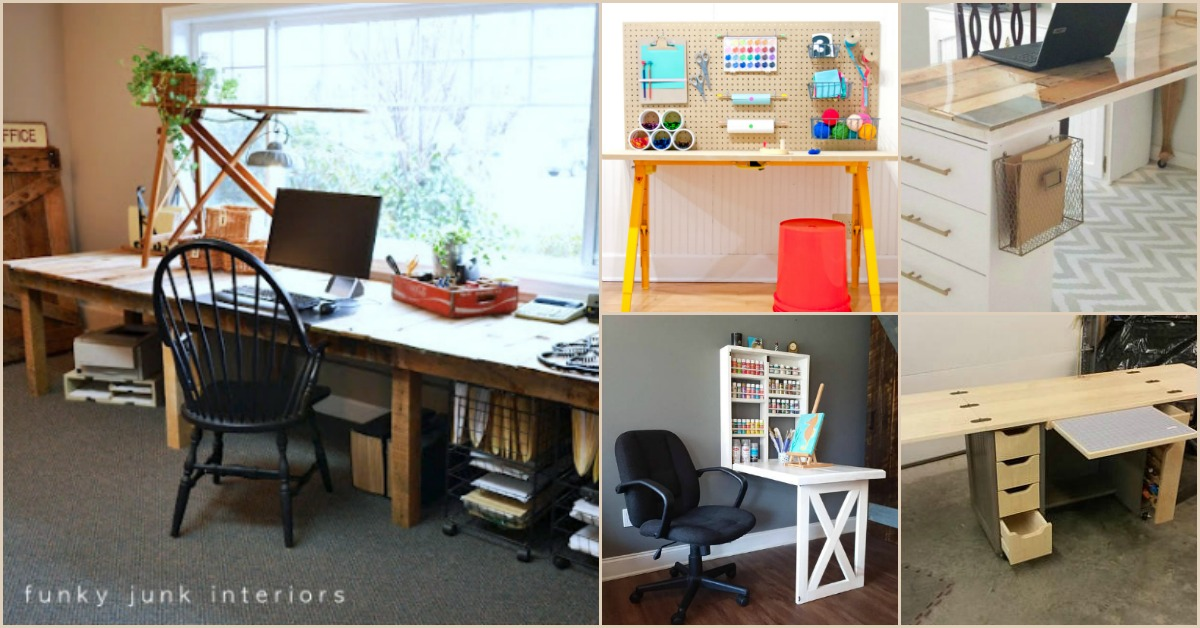 Picture of: 17 Easy To Build Diy Craft Desks You Just Can T Live Without Diy Crafts