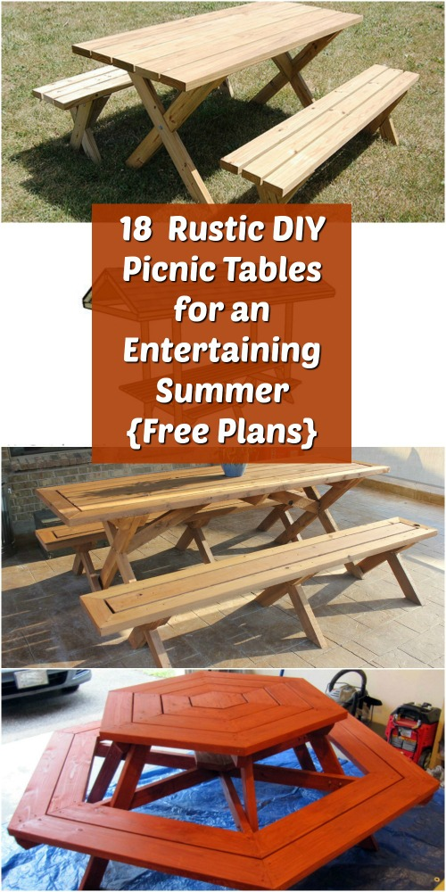 18 Rustic DIY Picnic Tables for an Entertaining Summer {Free Plans}