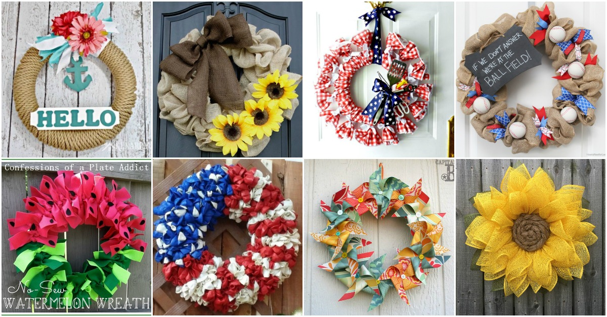 25 Gorgeous Diy Summer Wreaths You Can Make With Dollar Store Supplies Diy Crafts