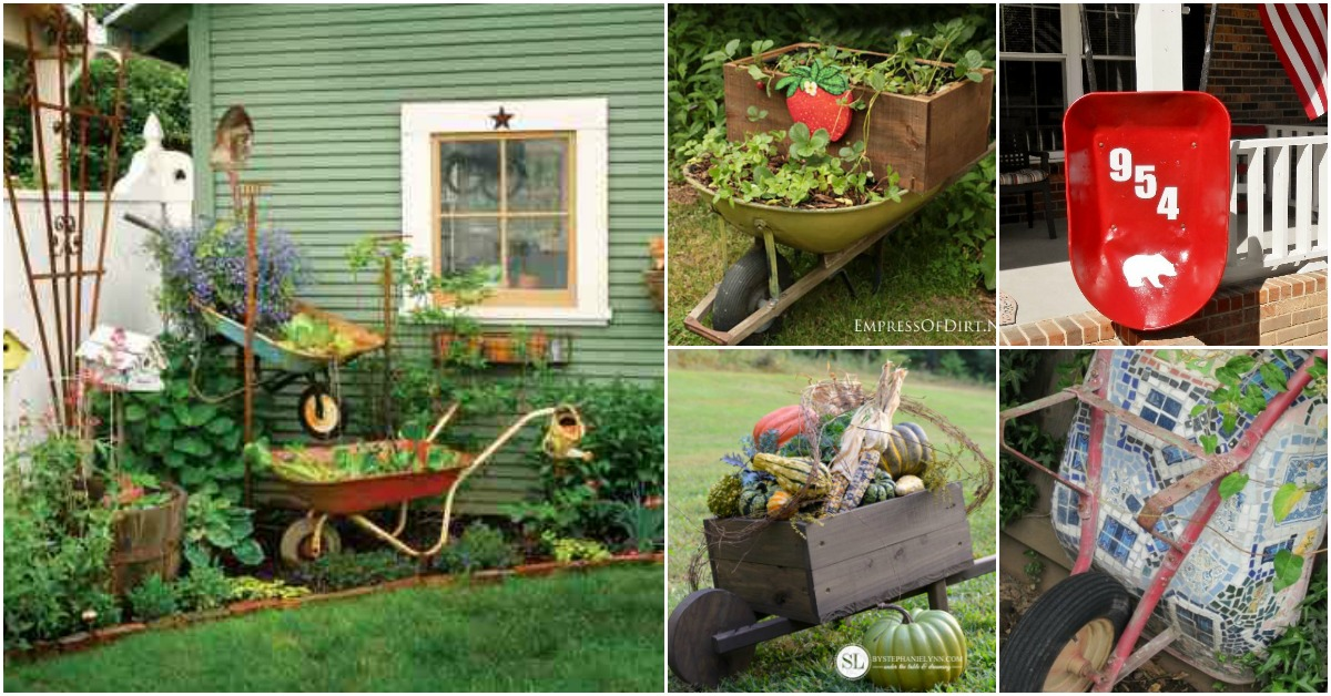 Home Design Ideas Decorating Gardening: 18 Cool Wheelbarrow Repurposing Ideas For Gorgeous Home