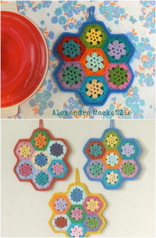 DIY Crocheted Hexagon Pot Holder