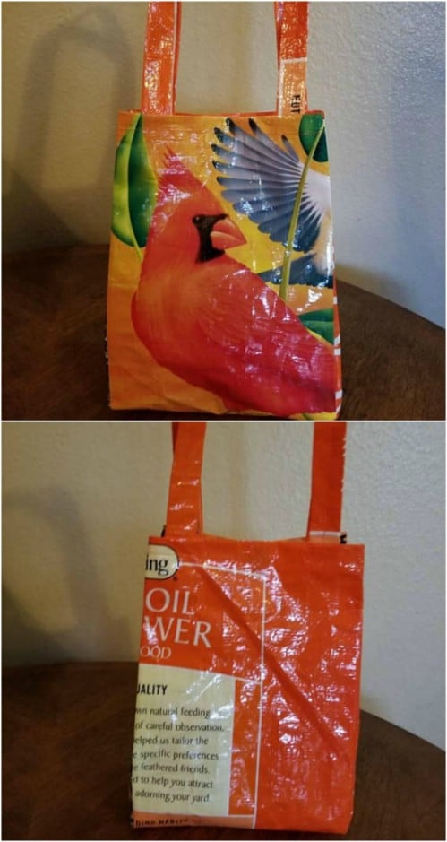 Repurposed Bird Seed Bag Lunch Sack