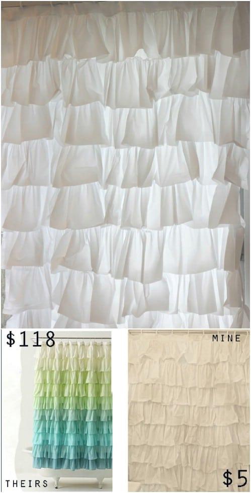 Anthropologie Inspired DIY Ruffled Shower Curtain