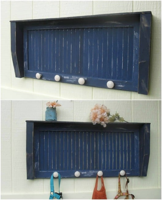 Repurposed Shutter Entryway Shelf