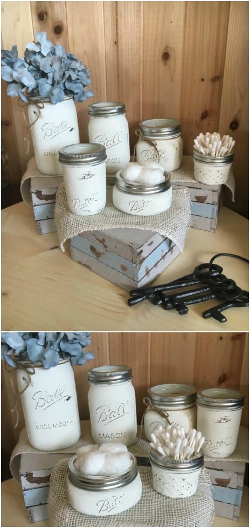 Distressed Mason Jar Bathroom Storage