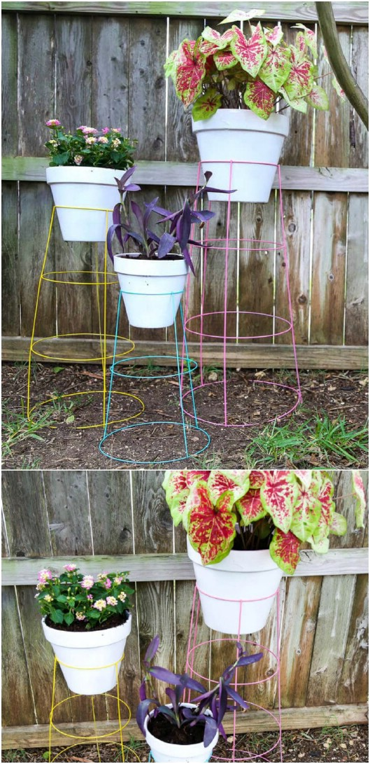 Colorful Repurposed Tomato Cage Plant Stands