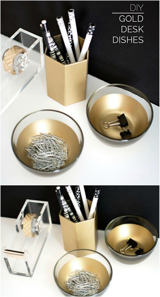 Lovely DIY Golden Desk Dishes