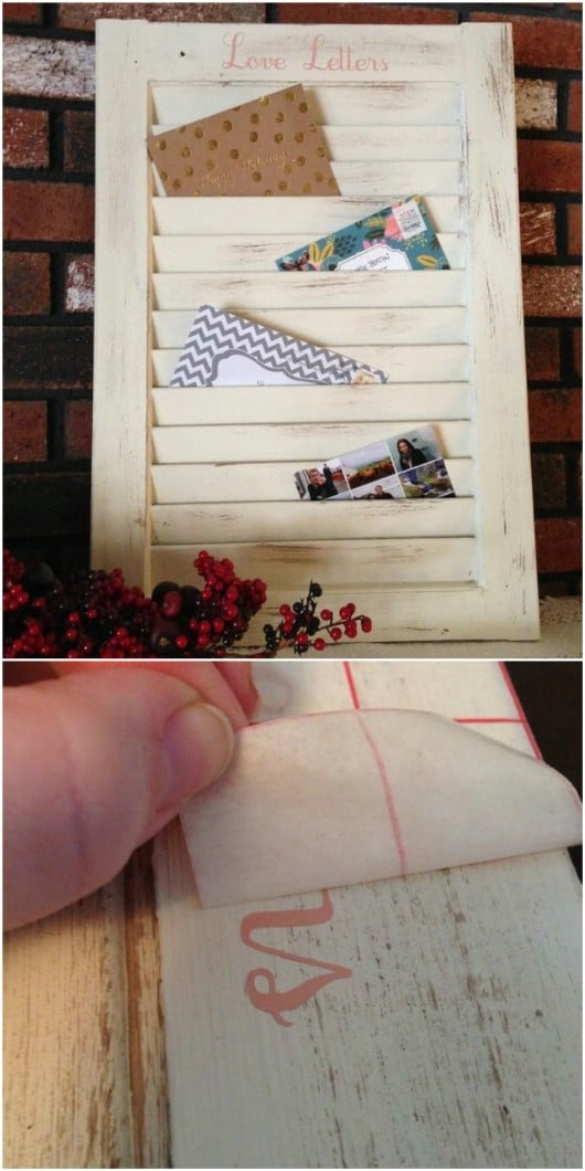 Repurposed Shutter Mail Organizer