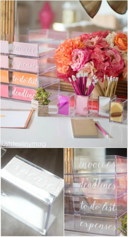 DIY Kate Spade Inspired Acrylic Desk Accessories