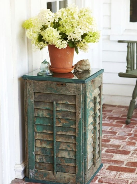 Lovely Outdoor Shutter Side Table