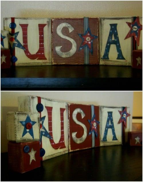 DIY Rustic USA Blocks