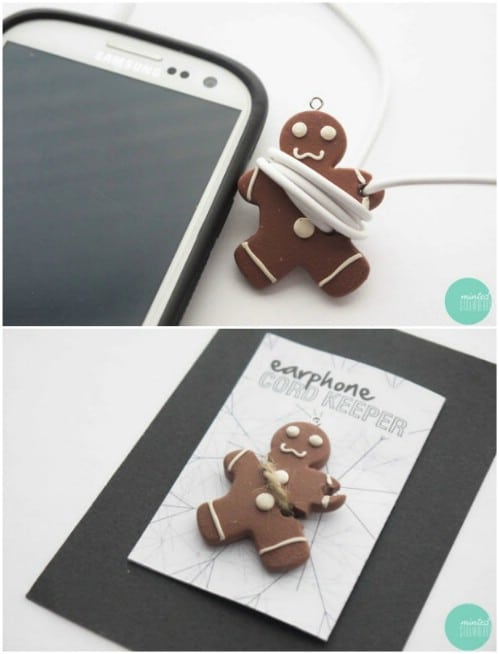 Adorable DIY Gingerbread Man Earphone Cord Keeper
